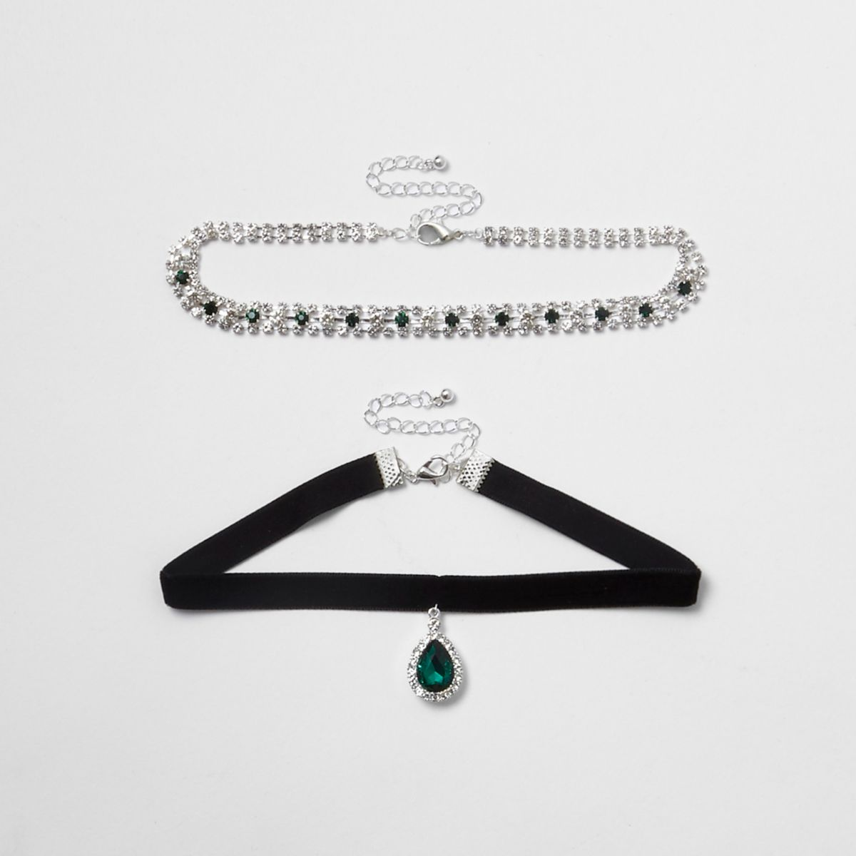 Green emerald tone jewel velvet choker set