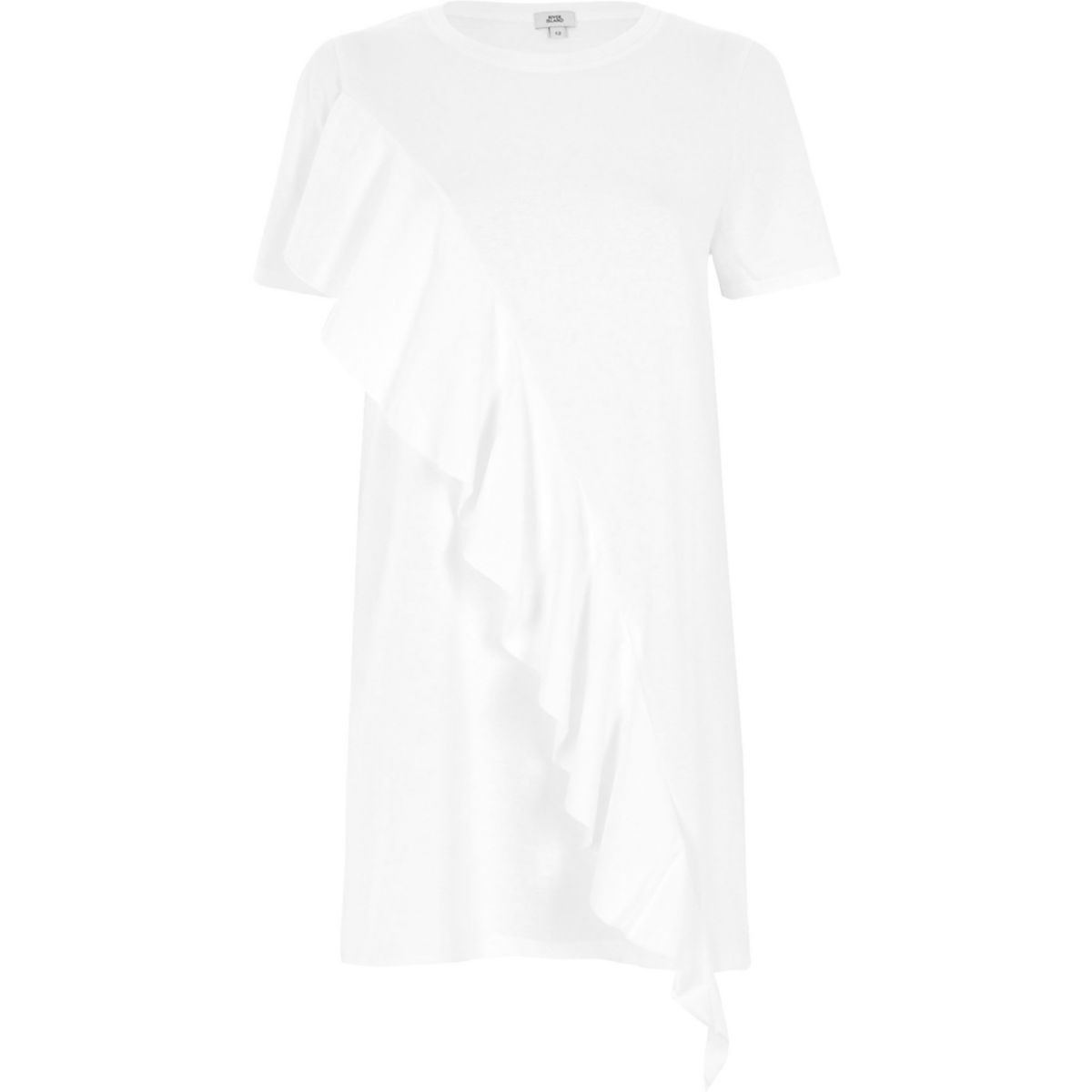 White frill front oversized T-shirt