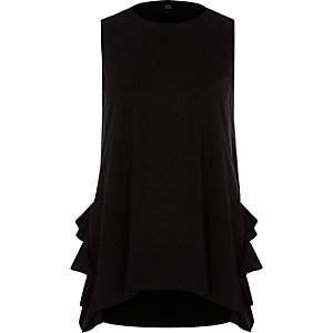 Black tendril frill tank top