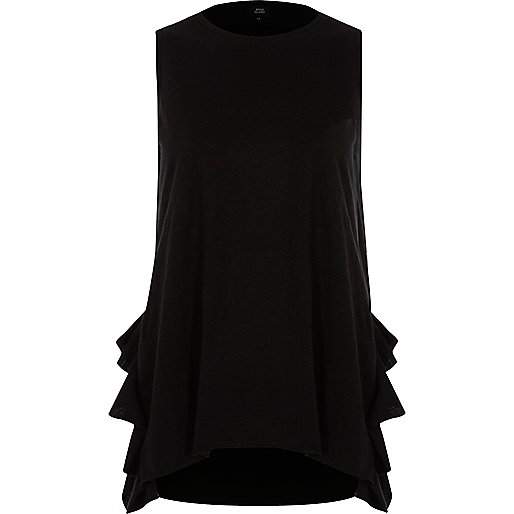 Black tendril frill tank top