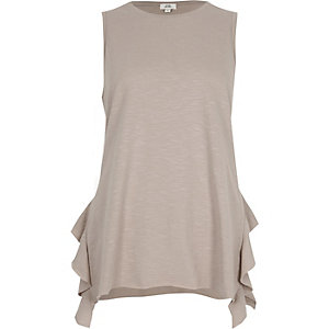 Light beige tendril frill tank top