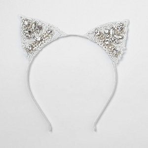 White lace embellished cat ears hair band