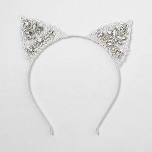 Witte haarband met kant en kattenoren