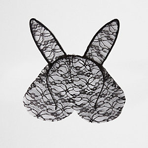 Black lace bunny ear face cover hair band