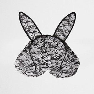 Serre-tête noir à oreilles de lapin et couvre visage en dentelle