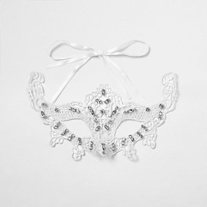 White lace rhinestone encrusted eye mask