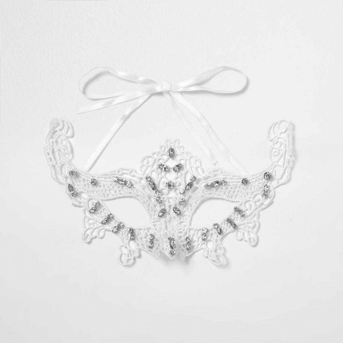 White lace rhinestone encrusted eye mask