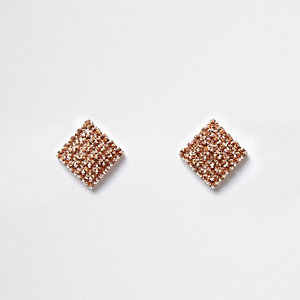 Rose gold tone rhinestone square stud earrings