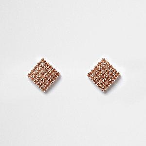 Clous d'oreilles carrés façon or rose à strass