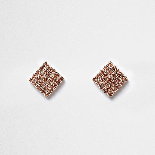 Rose gold tone rhinestone square stud earrings