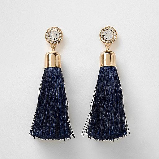 Navy tassel drop earrings