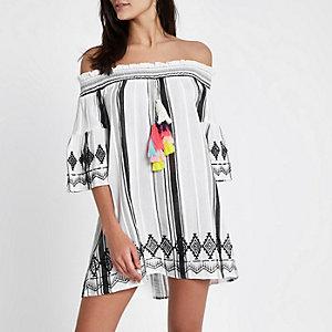 White stripe tassel bardot beach dress