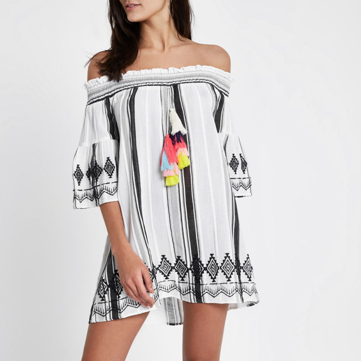White stripe tassel bardot beach dress