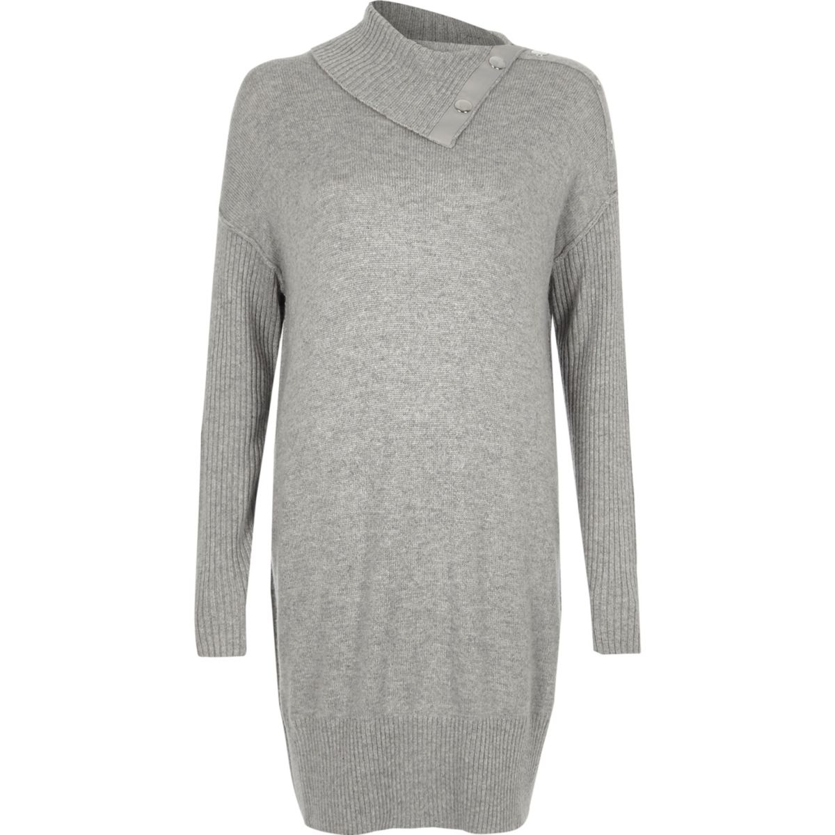Grey popper neck rib sleeve sweater dress