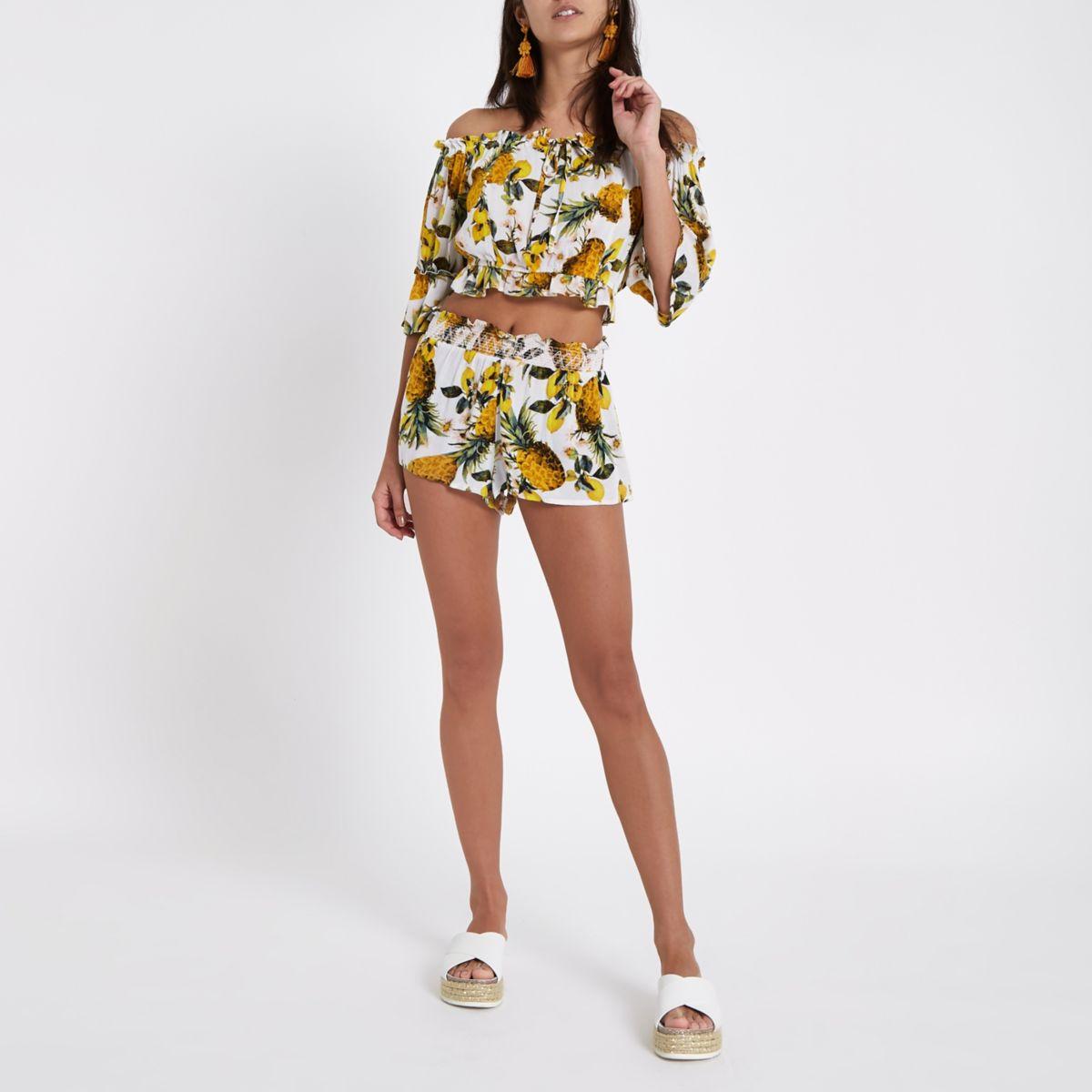 Yellow pineapple print beach shorts