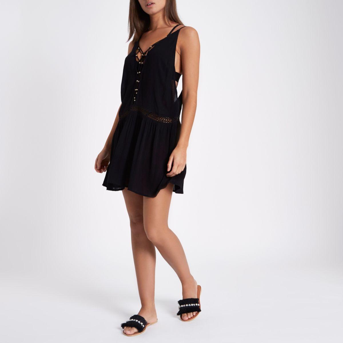 Black cami lattice insert beach dress