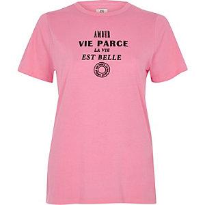 T-shirt ajusté imprimé floqué «vie» rose