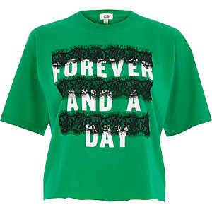 Groen T-shirt met kant en 'forever and a day'-print