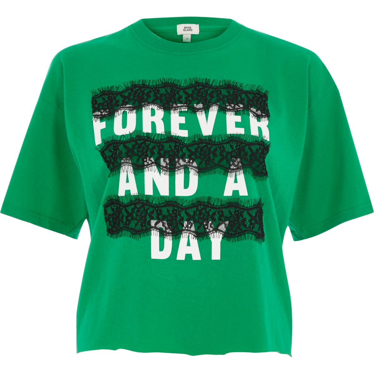 Green 'forever and a day' lace T-shirt