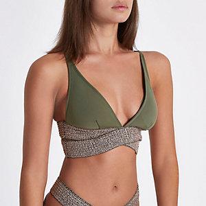 Haut de bikini triangle kaki à lanières métallisées