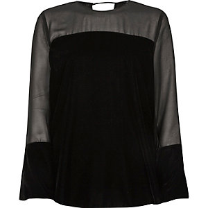Black sheer insert velvet top