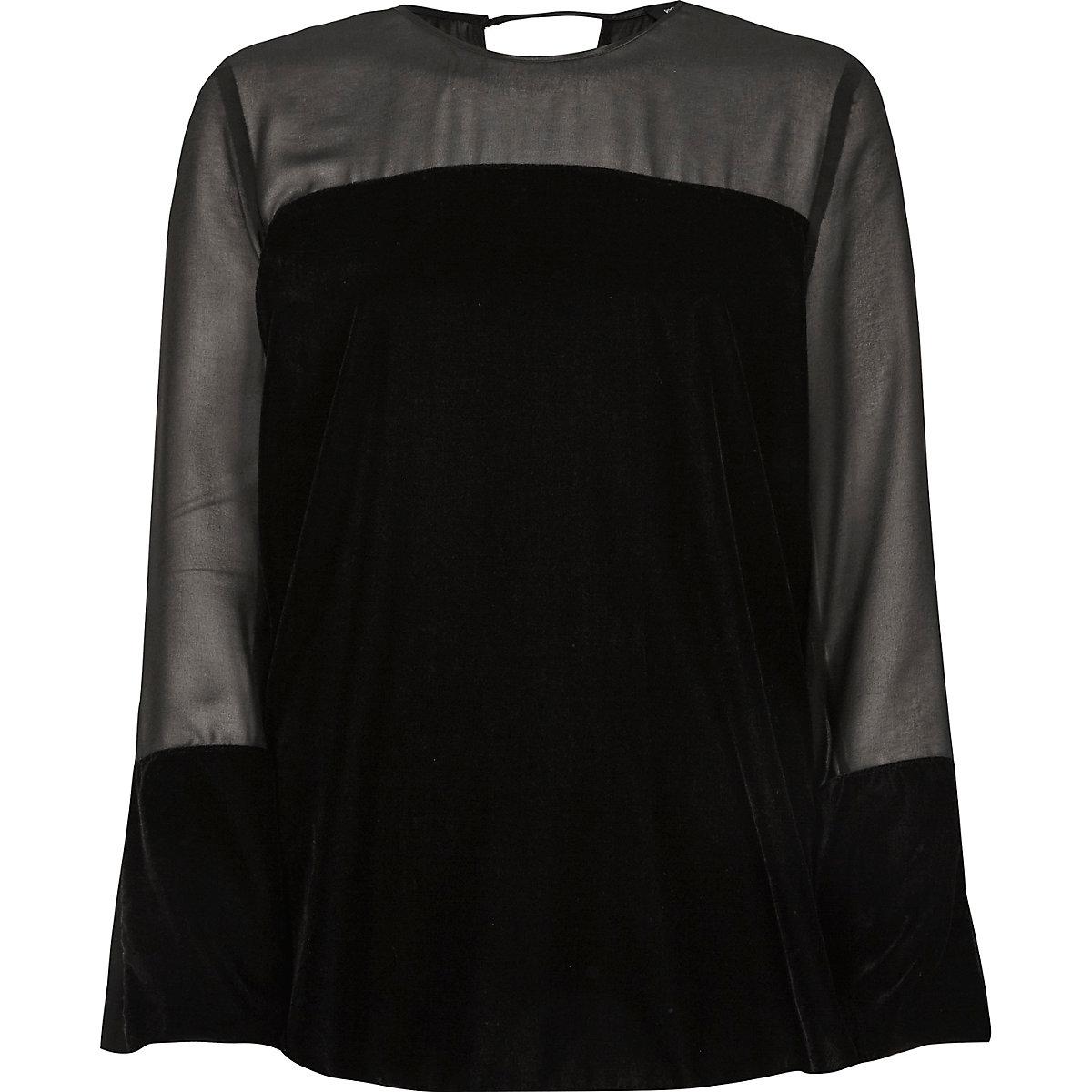 Black sheer insert velvet top