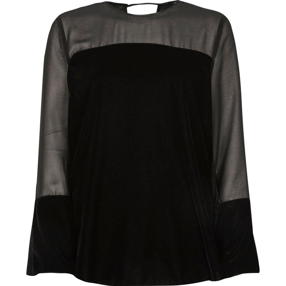 Top noir en velours avec empiècement transparent