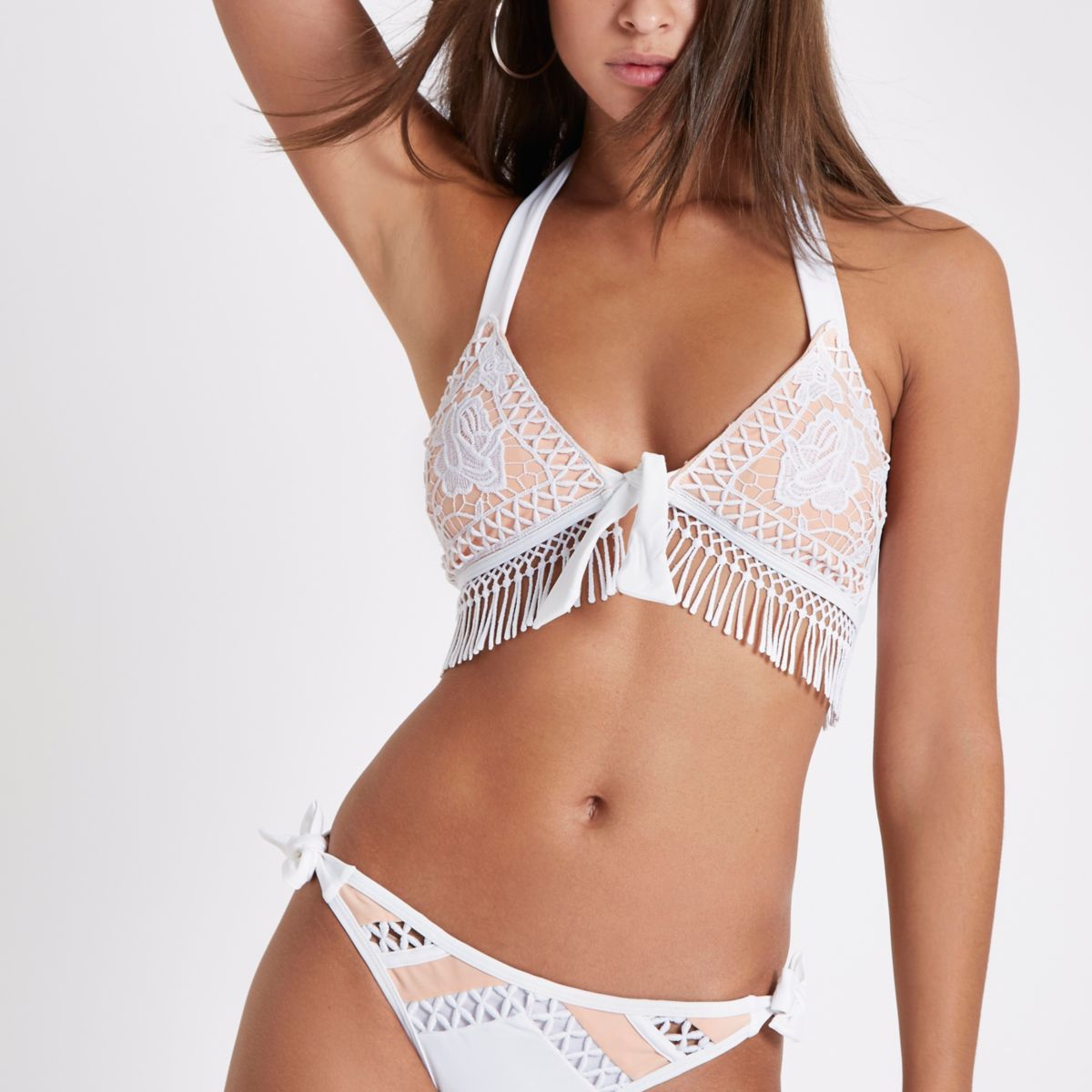 White crochet tassel triangle bikini top