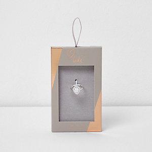 Silver tone Luli teardrop jewel ring