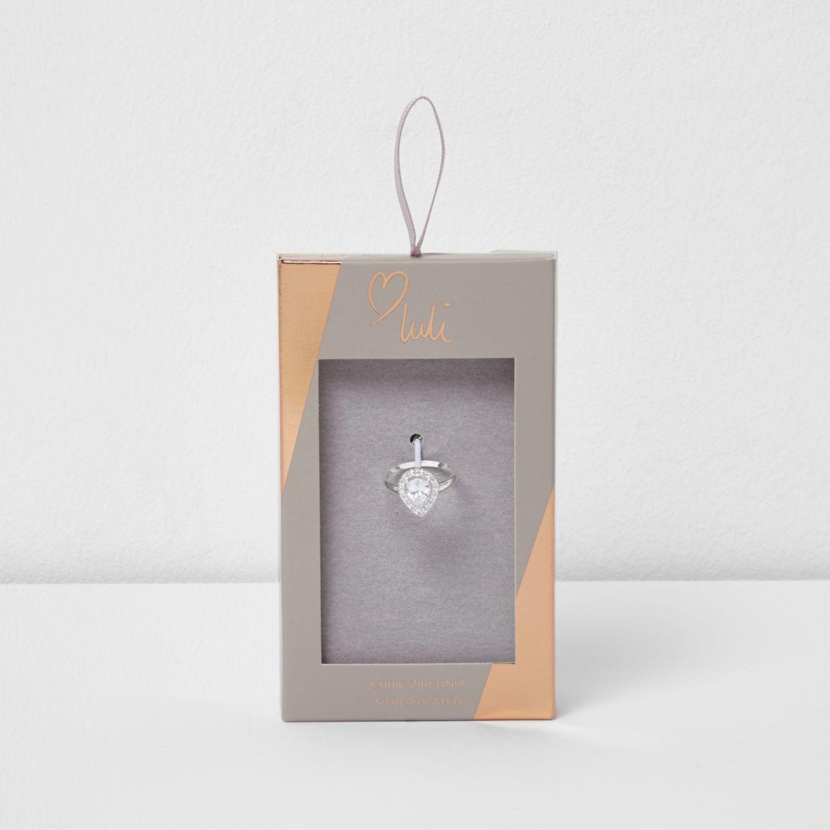 Silver plated Love Luli teardrop ring