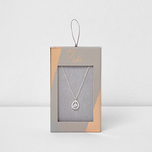 Silver tone Luli teardrop jewel necklace