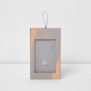 Silver tone Luli teardrop jewel necklace
