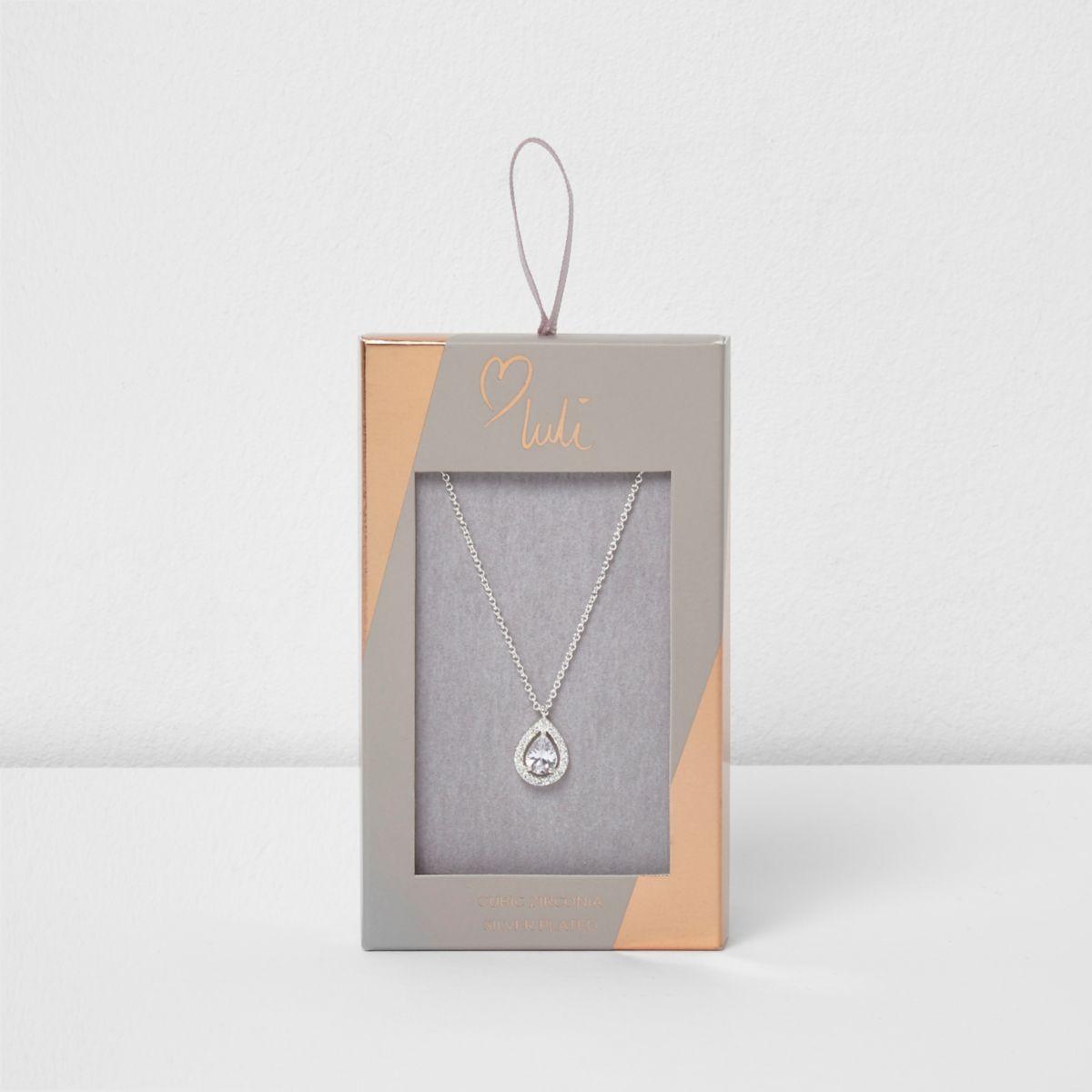 Silver plated Love Luli teardrop necklace