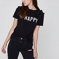 Petite black 'happy' bow shoulder T-shirt