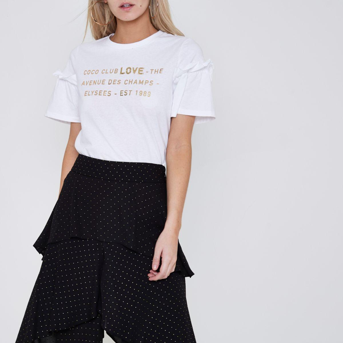 Petite white 39 coco club 39 embellished t shirt print t for Petite white tee shirt