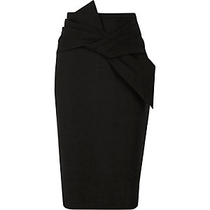 Black bow detail pencil skirt