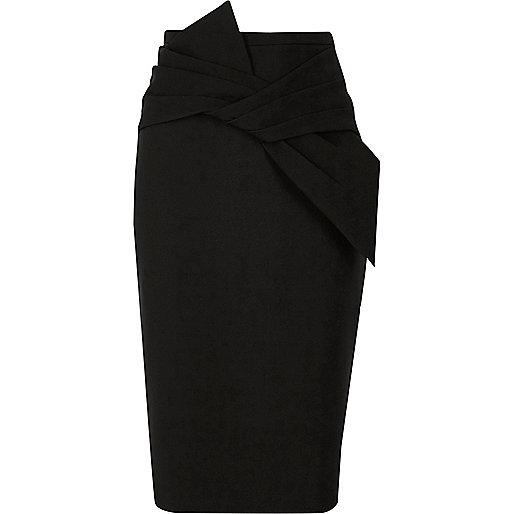 Black bow detail pencil skirt