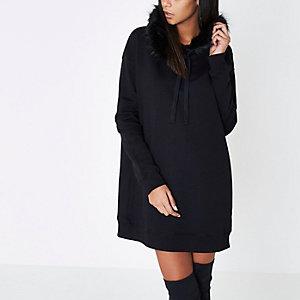 Zwarte lange hoodie met rand van imitatiebont