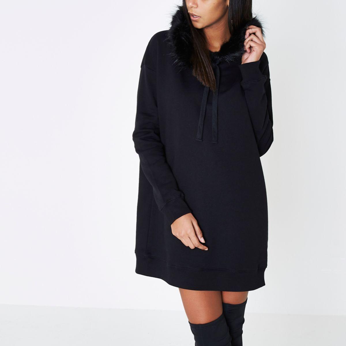 Black longline faux fur trim hoodie