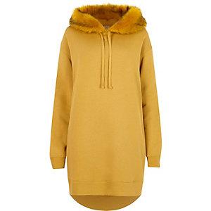 Yellow faux fur hood longline hoodie