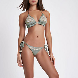 Khaki embellished tie side bikini bottoms