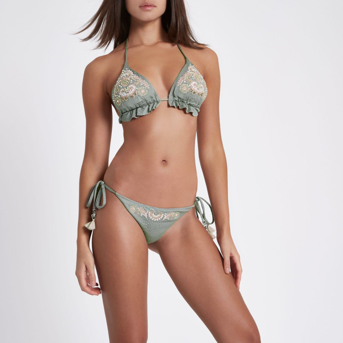 Khaki embellished tie side bikini bottoms