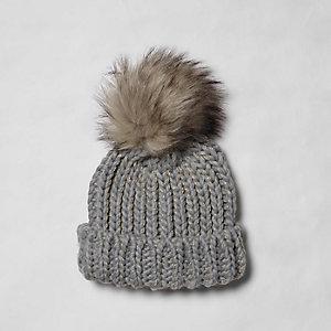 Grey glitter faux fur bobble beanie hat