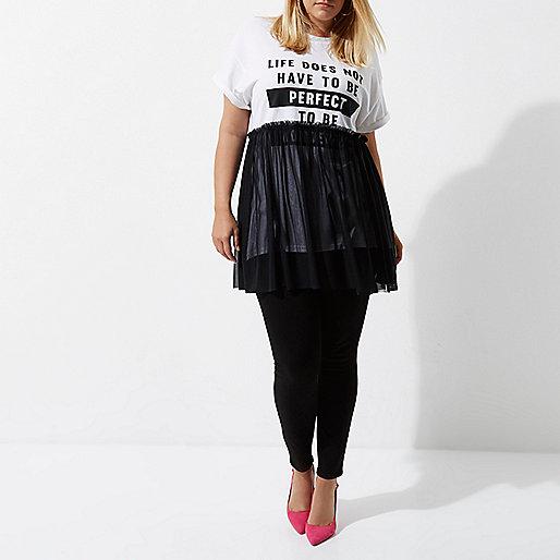 Plus white 'perfect' mesh overlay T-shirt