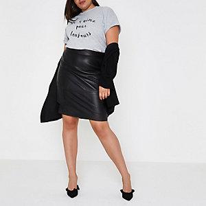 Plus – T-shirt boyfriend imprimé floqué gris chiné
