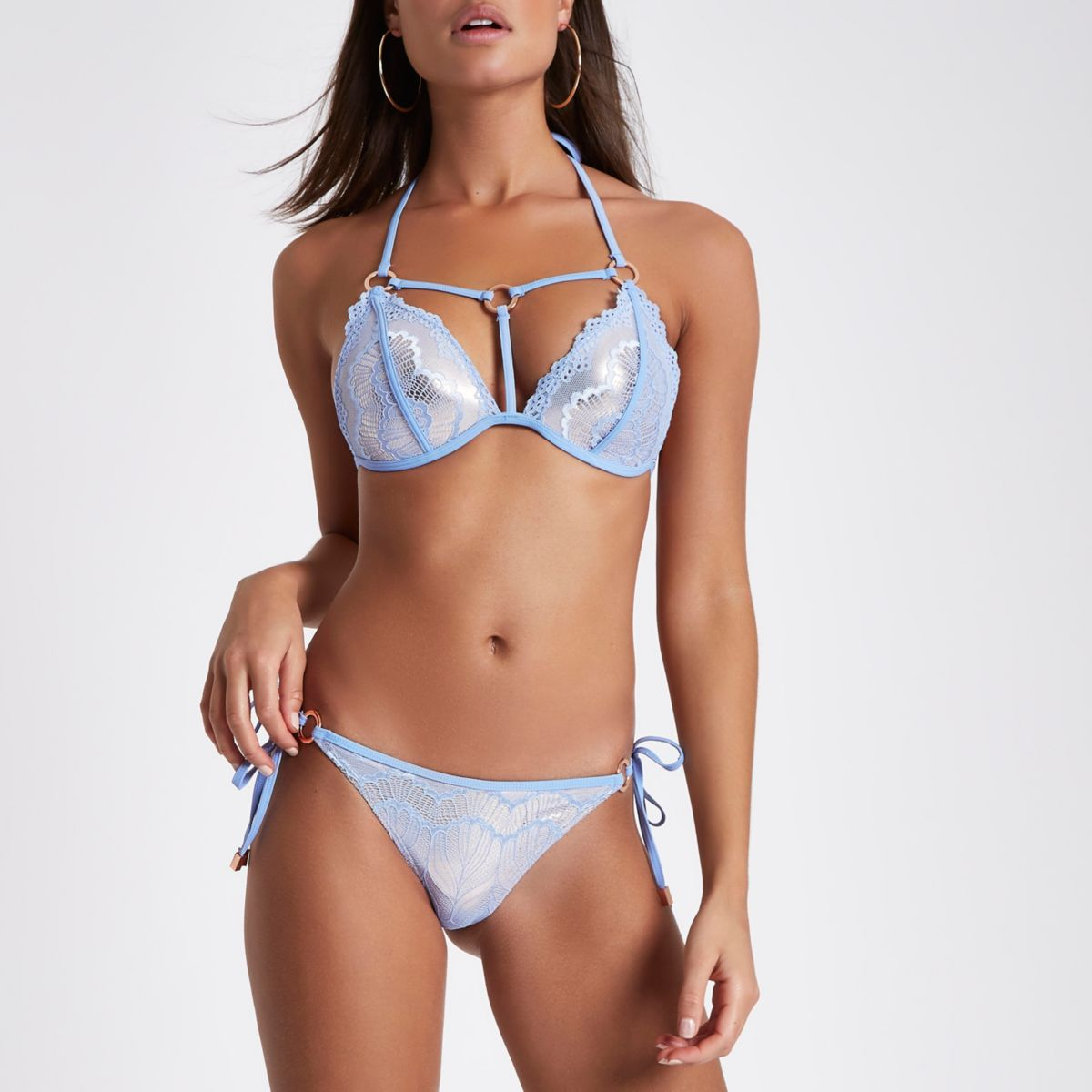 Blue metallic lace tie side bikini bottoms
