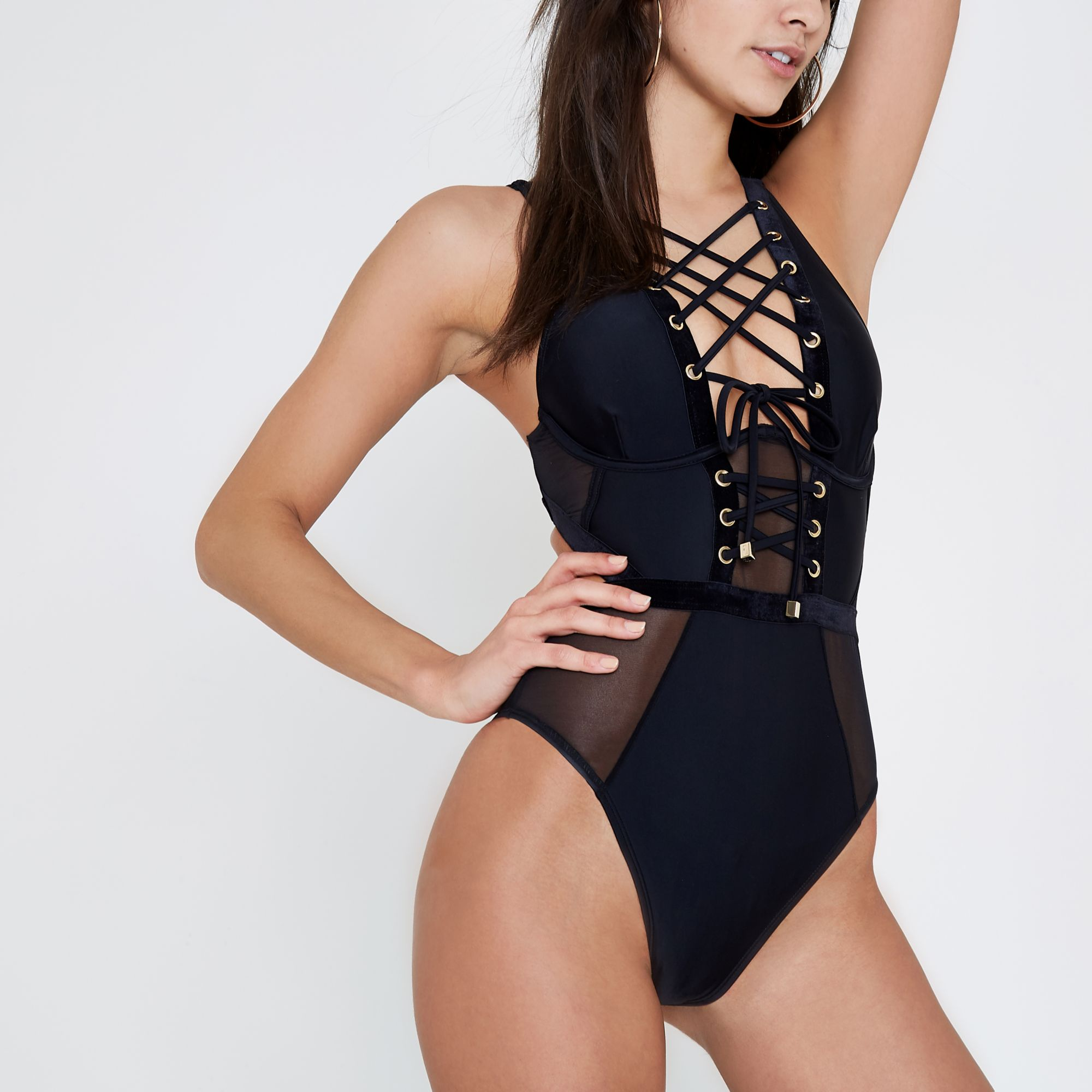 429e2d54c98a3 River Island Black corset mesh insert swimsuit at £16320