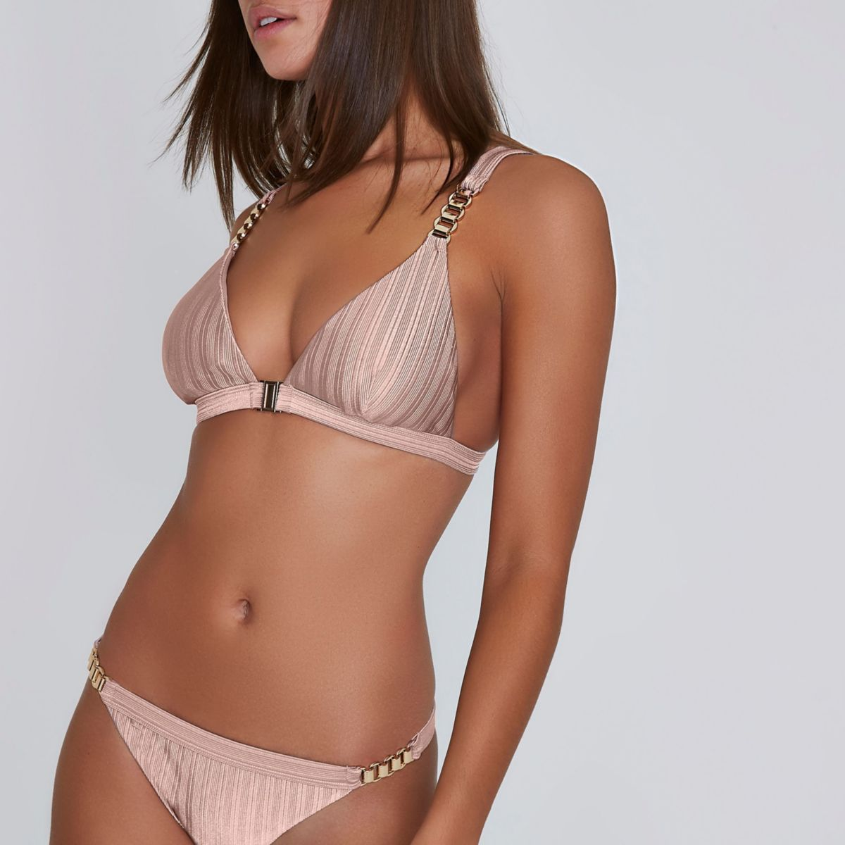 Light pink ribbed chain triangle bikini top