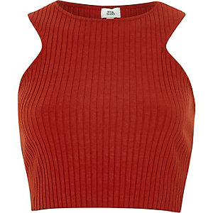 Red ribbed racer back crop top