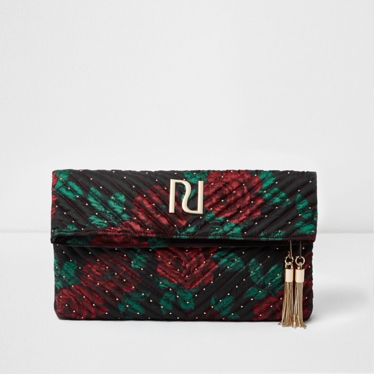 Red floral tassel front clutch bag